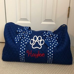 Blue Embroidered Duffle/Travel Bag - Haylee